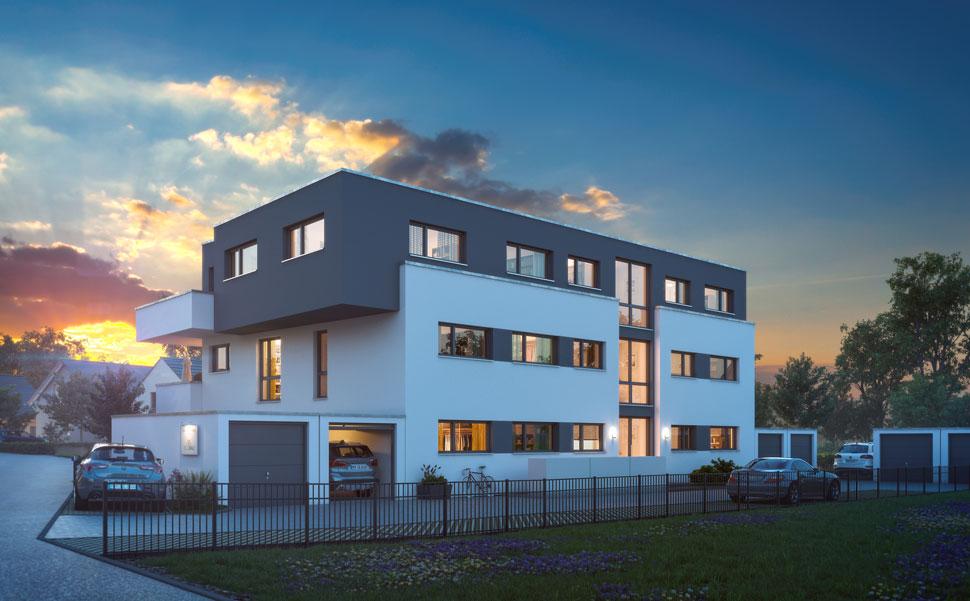 Architekten mehrfamllienhaus mit 6 eigentumswohnungen in for Mehrfamilienhaus modern