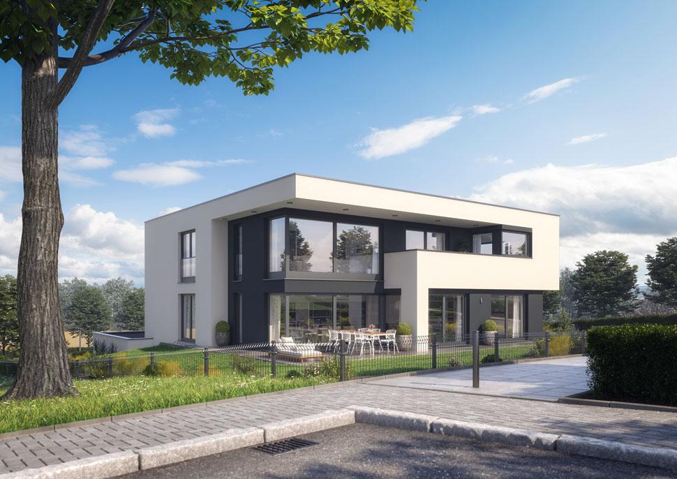 Modernes Architekten-Zweifamilienhaus mit Gewerbeeinheit › Ecobau